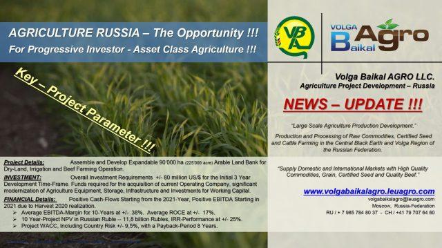 Leu AGRO News Update on its Subsidiary Volga Baikal AGRO LLC. Russia !!!